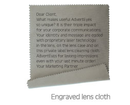 Engraved lens cloth